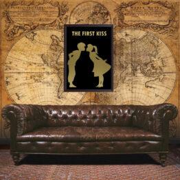 The First Kiss, girl, boy, love, poster, wall art