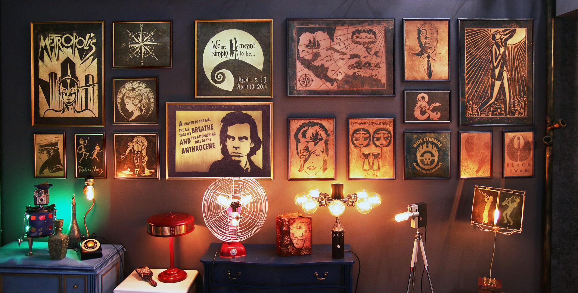 Handmade gifts, wall art, upcycle lighting
